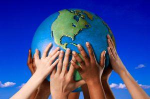 Lee Burkett--hands reaching for world