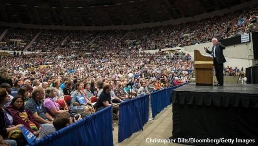 Bernie speaking to crowd